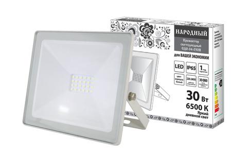 Прожектор светодиодный СДО-04-030Н 30 Вт, 6500 К, IP65, белый, Народный